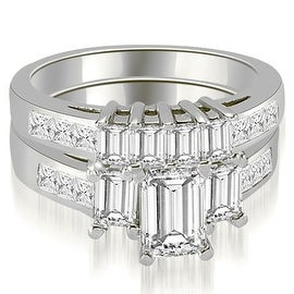 2.50 cttw. 14K White Gold Channel Princess and Emerald Cut Diamond Bridal Set