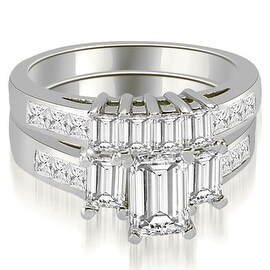 3.00 cttw. 14K White Gold Channel Princess and Emerald Cut Diamond Bridal Set