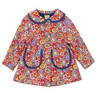 Maria Elena Little Girls Red Blue Paisley Pattern Peter Pan Collar Coat