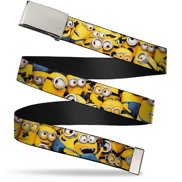 """Blank Chrome 1.0"""" Buckle Despicable Me Minions Stacked Close Up Webbing Web Web Belt 1.0"""" Wide - S"""