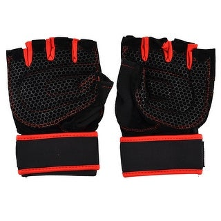 Skating Weightlifting Cycling Sport Half Finger Fingerless Gloves Black Red Pair