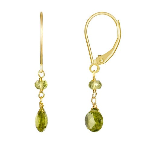 14k Peridot Dangle Leverback Earrings