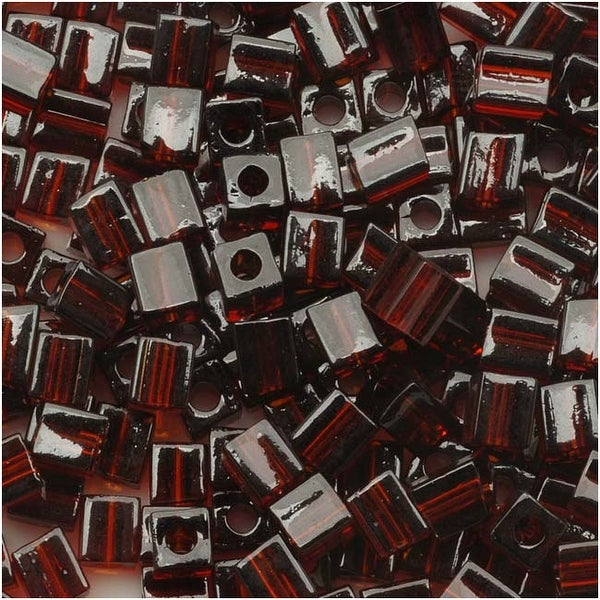 Miyuki 4mm Glass Cube Beads Transparent Dark Brown 134 10 Grams