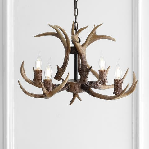 "Eldora 26"" Resin Antler 4-Light LED Chandelier, Brown by JONATHAN Y"