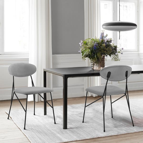 Alice Grey Velvet And Metal Dining Room Chairs Set Of 2 Overstock 32856425