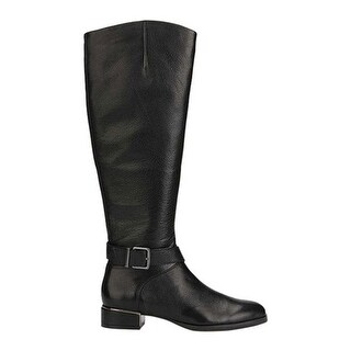 Kenneth Cole New York Women's Branden Buckle Riding Boot Black Leather