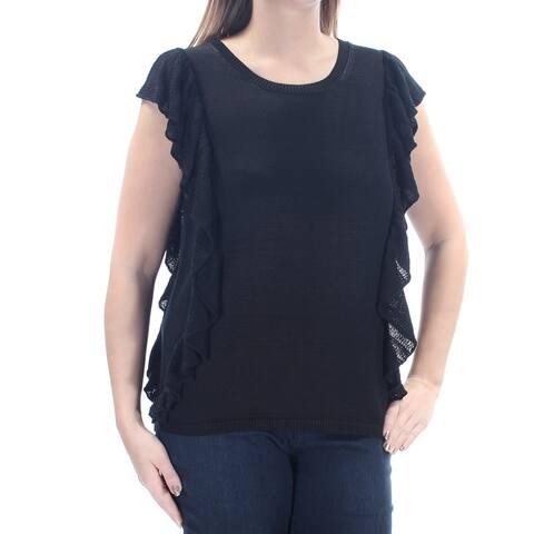 Ralph Lauren Womens Black Ruffled Flutter Sleeve Jewel Neck Top Size: L