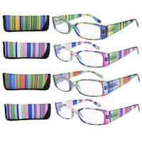 Eyekepper Stripe Temples Spring Hinge Reading Glasses (4 Pack Mix) Women +0.5