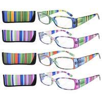 Eyekepper Stripe Temples Spring Hinge Reading Glasses (4 Pack Mix) Women +0.75