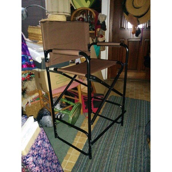 trademark innovations lightweight and durable aluminum folding tall chair free shipping today
