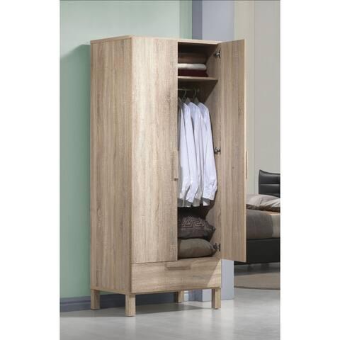 Wooden Wardrobe with 1 Drawer, Light Oak Brown