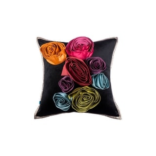 100% Handmade Imported Lux Bouquet Pillow Cover, Beige, Greyish Brown with a Hint of Wine