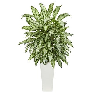 Nearly Natural Silver Queen Artificial Plant in White Tower Planter