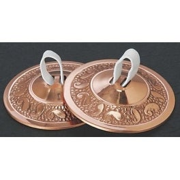 "Embossed Brass Finger Cymbals Zills 2.25"" diameter Belly Dancing - Copper Plated & Polished Brass"