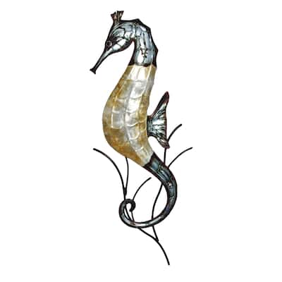 Handmade Gray and Pearl Seahorse (Philippines) - 1 x 9 x 22