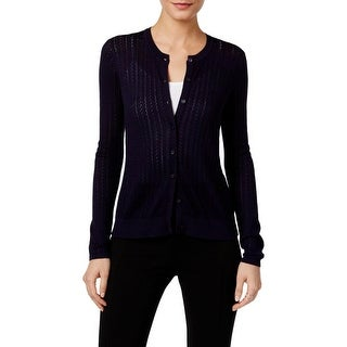 August Silk Womens Cardigan Sweater Pointelle-Knit Long Sleeves