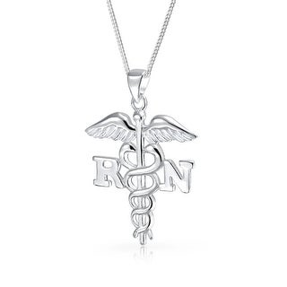 Bling Jewelry RN Registered Nurse Symbol Caduceus Pendant Stelring Silver Necklace 18 Inches