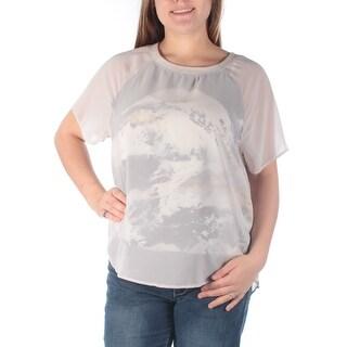 KIIND OF $69 Womens New 6575 Gray Jewel Neck Short Sleeve Casual Top M B+B