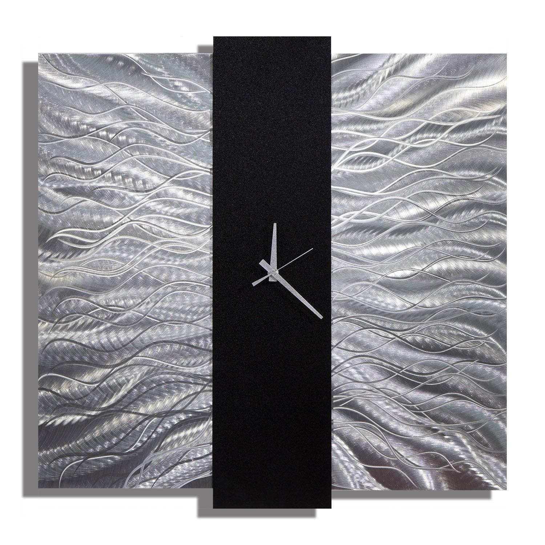 Statements2000 Black / Silver 24-inch Metal Hanging Wall Clock - Elegant Mechanism - Thumbnail 0