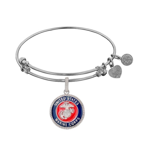 Angelica Collection Brass with White Finish U.S. Marine Corps Expandable Bangle