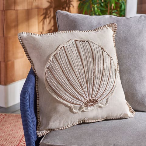 Safavieh Della Seashell 18-inch Nautical Decorative Throw Pillow