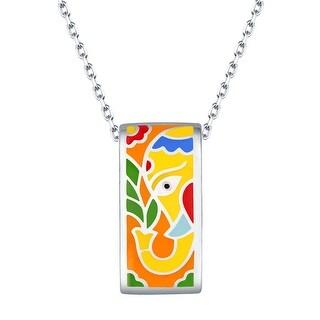 Vedantti Madhubani Art Elephant Multi Color Enamel Rectangle Necklace