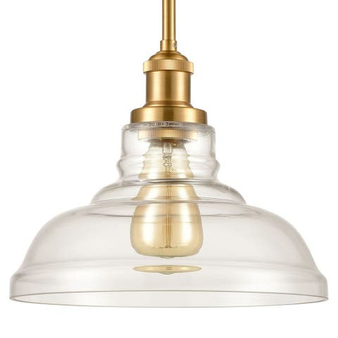 Lucca Industrial Brass Island Pendant Light with Clear Barn Glass Shade