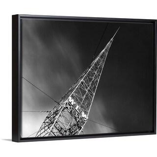 """1930's Wlw Radio Aerial Antenna Cincinnati Ohio USA"" Black Float Frame Canvas Art"