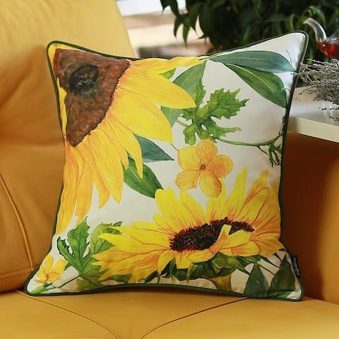 "Sunflower Theme Throw Pillow Cover 18""x18"""