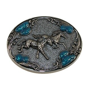 CTM® Women's Horse Belt Buckle with Turquoise Accents - Silver - One Size