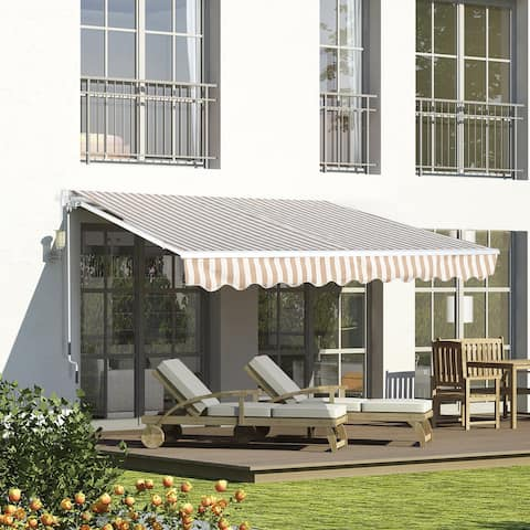 Outsunny 13' x 8' Manual Retractable Sun Shade Patio Awning with Durable Design & Adjustable Length Canopy