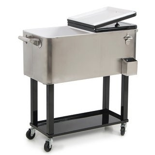 Belleze 80-quart Portable Rolling Ice Chest Cooler Cart, Stainless Steel