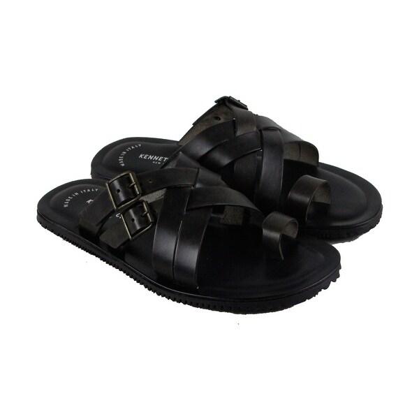 Kenneth Cole New York Design 10829 Mens Black Leather Flip Flops Sandals Shoes