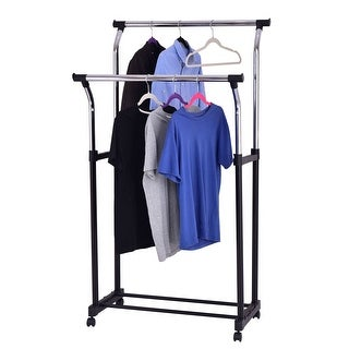 Costway Double Rod Adjustable Clothes Hanger Garment Rack Organizer Rolling Chrome