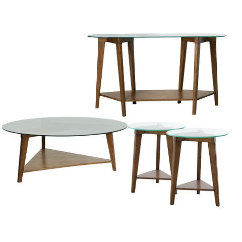 Abbyson Marten Wood and Glass 4 Piece Table Collection