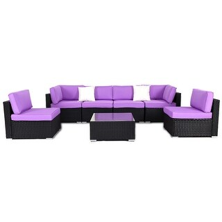 Costway 7 PCS Rattan Wicker Patio Set Outdoor Sectional Sofa Furniture Purple Cushion