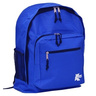K-Cliffs Unisex Royal Blue Zipper Compartments Side Mesh Pockets Backpack - One size