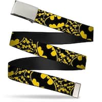 "Blank Chrome 1.0"" Buckle Bat Signals Stacked W Close Up Yellow Black Web Belt 1.0"" Wide - S"