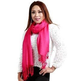 """Fringed Pashmina Silk Large Scarf, 27""""x72"""", Hot Pink"""