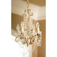 """14"""" Antique Gold 4-Arm Frame Clear Beaded Chandelier"""