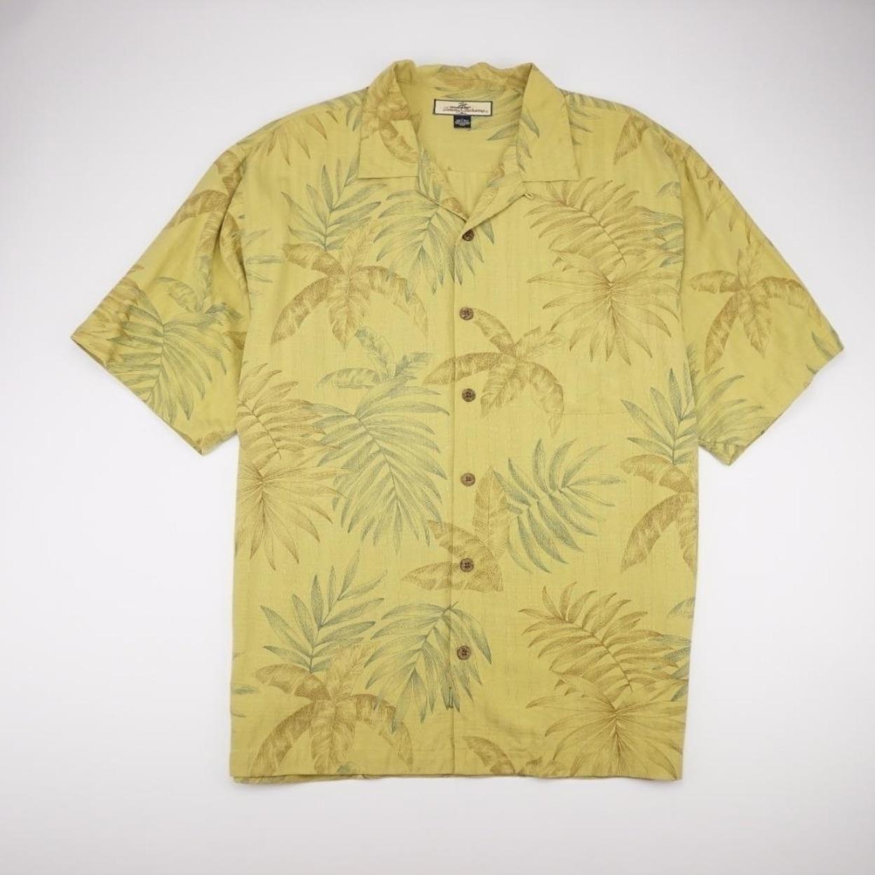 Tommy Bahama Hawaiian Short Sleeve Camp Shirt Relax Mens Size L 100/% Silk Yellow