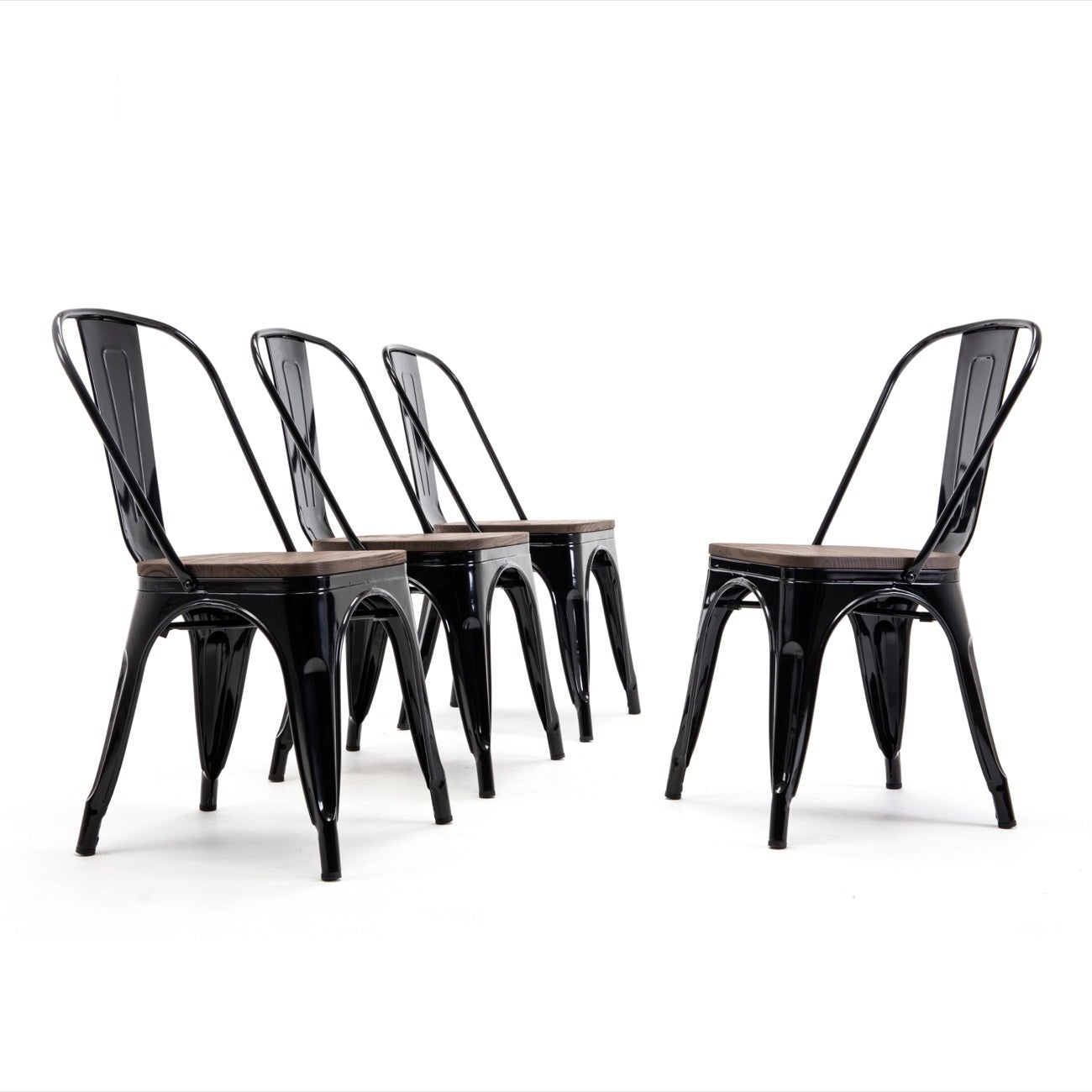 BELLEZE Stackable Bistro Dining Chairs Set of (10) Wood Stool, Black -  standard