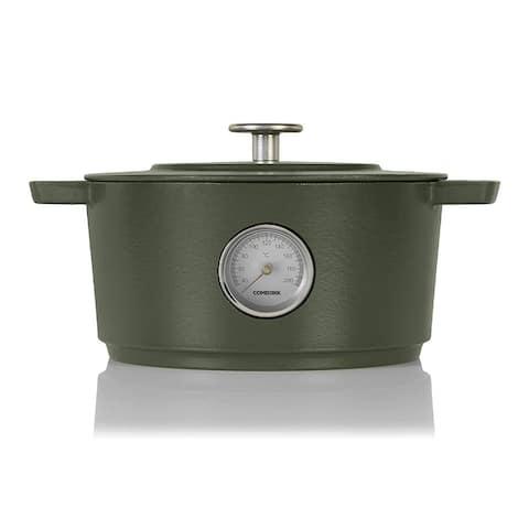 Combekk Enamel Cast Iron 6.3 Quart Dutch Oven w/ Thermometer (Green)