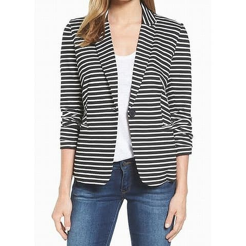 Olivia Moon Womens Blazer Black Size XS Striped One-Button Notch-Lapel