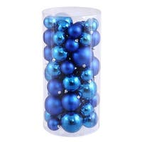 Christmas at Winterland WL-ORNTUBE-60-BL 1.5-Inch Plastic Shatterproof Blue Ball Ornaments (Package of 100) - N/A