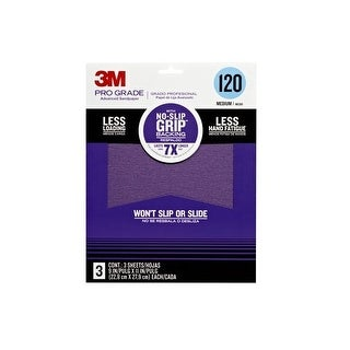 "3M Pro Grade 25120P-G No-Slip Grip Advanced Sandpaper, 9""x11"", 120 Grit"