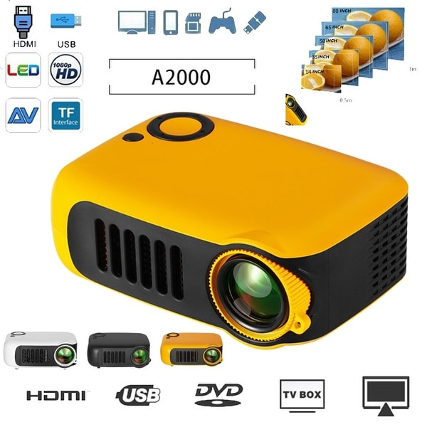 """Mini Home Theater Movie Portable Projector 1080P Multimedia Video Projector 2"""" LCD HDMI/USB/SD Card/Laptops 1800 LM. Opens flyout."""