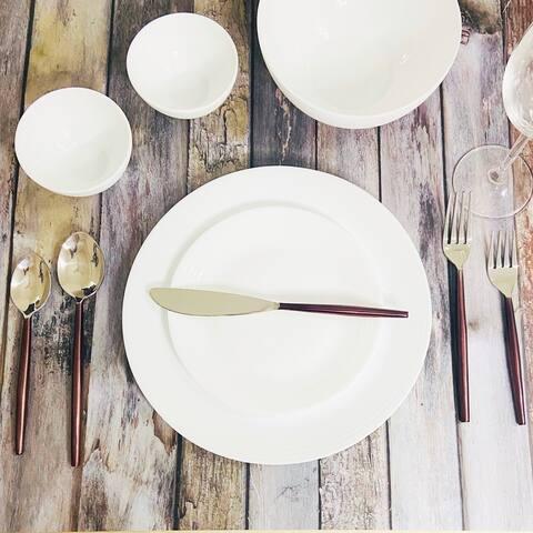 "INOX Cinnamon Bronze Lyric 20 Pc. Flatware Set (Serves 4) - 9"" Dinner nife, 8.25"" Dinner Fork, 8"" Dinner Spoon"