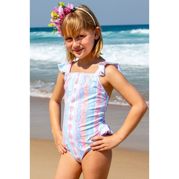 Sun Emporium Arabella Print One-Piece Frill Swimsuit Little Girls. Opens flyout.