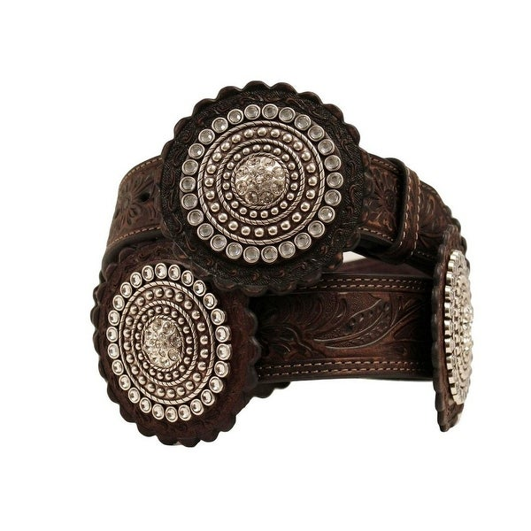 Nocona Western Belt Womens Rosette Conchos Leather Brown